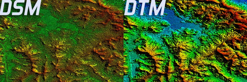 Sampel DSM ( Digital Surface Model ) & DTM ( Digital Terrain Model )  dsm dtm